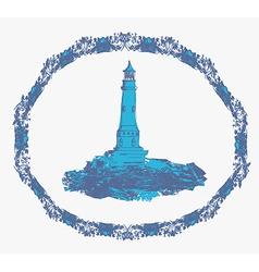 lighthouse seen from a tiny beach vector image
