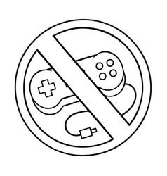 Line drawing cartoon no gaming allowed sign vector