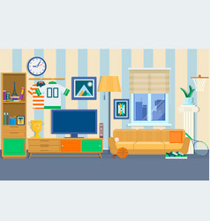Living room with furniture cozy interior vector