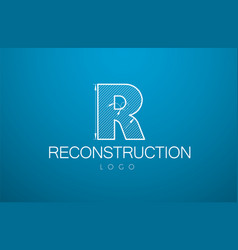 Logo template letter r in the style vector