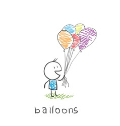 man with balloons vector image