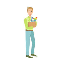 Man with box full of household chemistry product vector