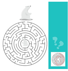maze game for children with polar bears vector image