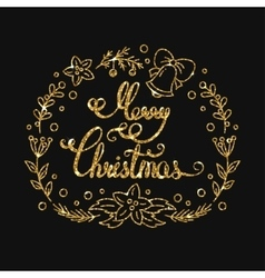 Merry Christmas Golden Lettering Design vector image