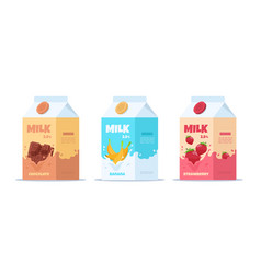 Milk package sweet milk with different tastes vector