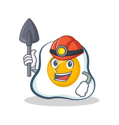 Miner fried egg character cartoon vector