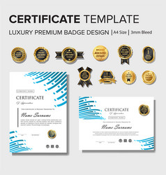 modern certificate design with badge vector image