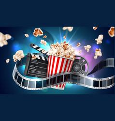 movie cinema poster flying popcorn tape vector image