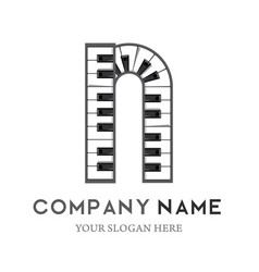 N letter logo design piano keyboard logo vector
