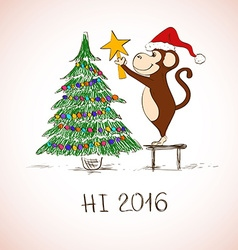 New Year Card With Funny Monkey Decorate The vector