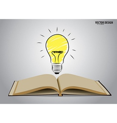 Opened book with light bulb vector