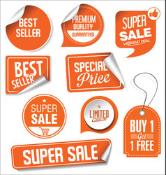 orange sale stickers collection vector image
