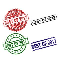 Scratched textured best of 2017 stamp seals vector