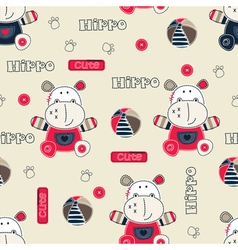 Seamless pattern with cartoon hippo vector