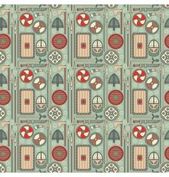seamless viking pattern 01 vector image