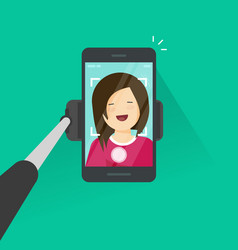 selfie stick and smartphone making photo of vector image