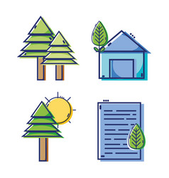 set linear flat design icons vector image