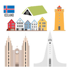 set with iceland landmarks in flat style vector image