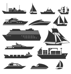 Ships and boats icons Barge cruise ship shipping vector