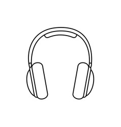 Silhouette music headphones icon flat vector