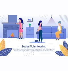 social volunteering flat banner template vector image