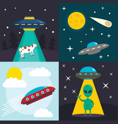 space ufo banner set flat style vector image