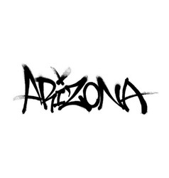 Sprayed arizona font graffiti with overspray in vector