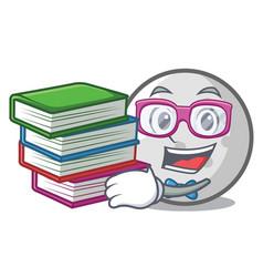 Student with book golf ball mascot cartoon vector