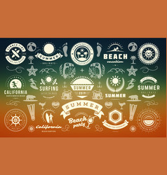 summer labels and badges design set retro vector image
