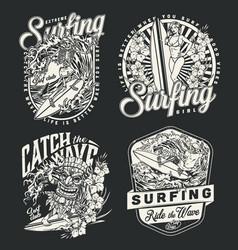 surfing vintage monochrome logotypes vector image