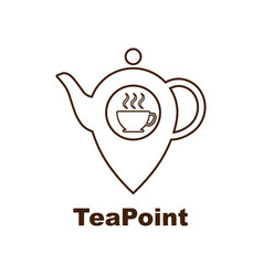 tea point logo tea bar emblem internet shop vector image