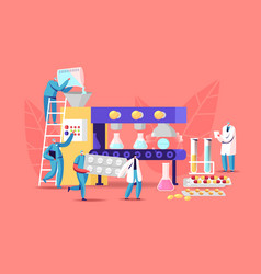 Tiny pharmacist characters at huge production line vector