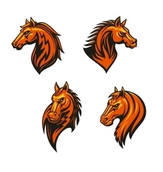 Tribal wild horse or mustang head icon set vector