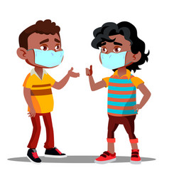 two afro american boys with medical masks on their vector image