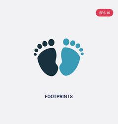 Two color footprints icon from kid and baby vector