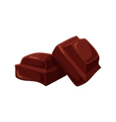 Two pieces of chocolate isolated on white vector