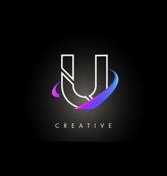 U trendy modern letter logo design monogram and vector