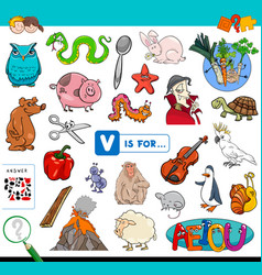 V is for educational game for children vector