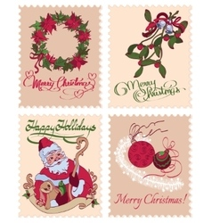 Vintage Christmas Stamps Mistletoe Wreath vector