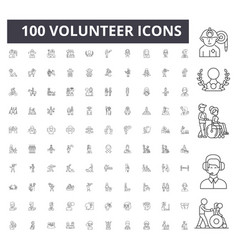 Volunteer line icons signs set outline vector