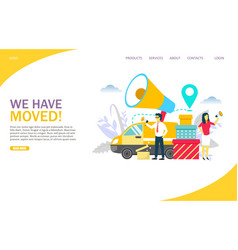 We have moved website landing page design vector