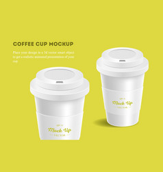 White coffee cup mockup on yellow background vector