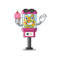 With ice cream candy vending machine in a cartoon vector