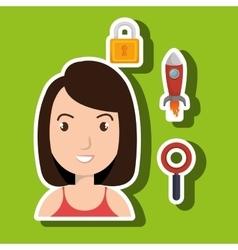 woman idea search security vector image