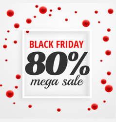 Black friday mega sale poster with red dots vector