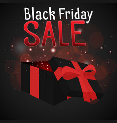 black friday sale with a festive box and sparkles vector image vector image