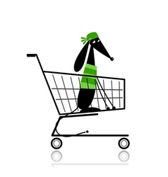 Cute dog in shopping cart for your design vector image