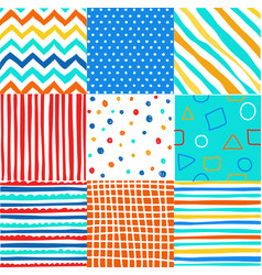 cute set of kids seamless patterns with fabric tex vector image vector image
