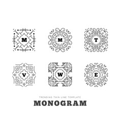 monogram series with letters on white background vector image vector image