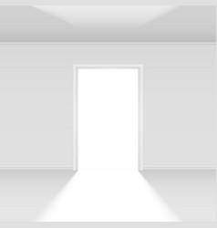 Open door with light on white for design vector